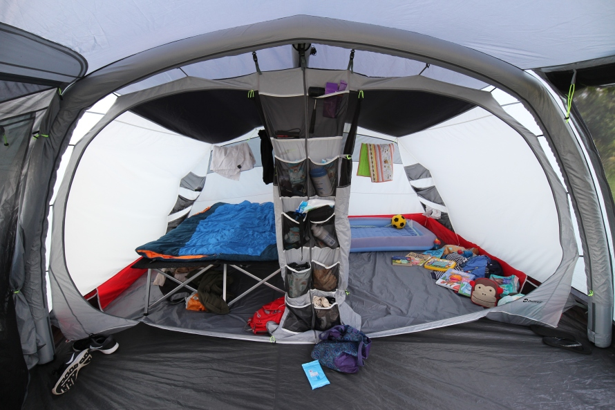 The 2 bedroom compartments of an Outwell Montana 6AC tent
