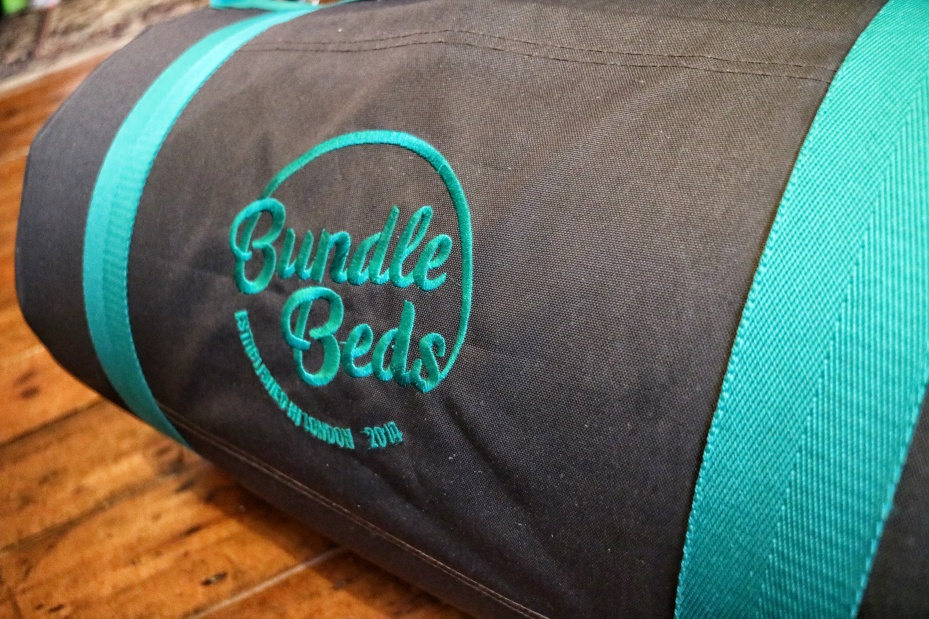 The bed rolls up into a compact bundle